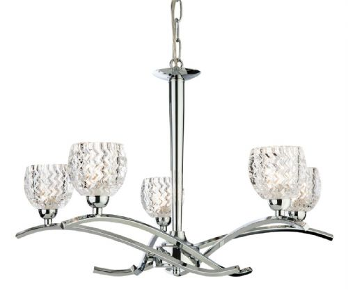Firstlight 8617CH Chrome with Moulded Clear Glass Maple 5 Light Fitting